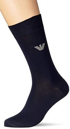 Emporio Armani Underwear Short Socks Monopack Dressy Calcetines Cortos, Azul Marino, L para Hombre