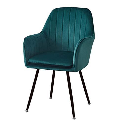 zyy Sillas de cocina retro sillas de cocina, asiento y respaldo de terciopelo suave con cojín patas de metal Sillones para comedor y sala de estar silla de escritorio (color: verde)