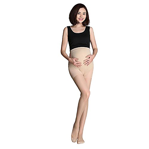 Pregnant Women's Thigh High Open Toe Compression Stockings Moderate Pressure Ladies Sheer Socks Lace Top Quality Support Hose - Best Comfort Fit (Beige)