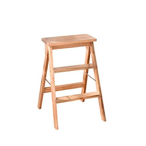 LJZslhei Hocker Massivholz Klappstuhl Einfache Portable Hocker Multifunktionsleiter Hocker Kreative Home Küche Holz Farbe
