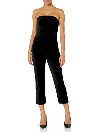 Armani Exchange AX Damen Sleeveless Solid Black Jumpsuit Legeres Abendkleid, schwarz, 40