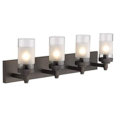 Emliviar 4-Light Vanity Lights, Bathroom Light Fixtures in Oil Rubbed Bronze Finish with Clear Frosted Glass Shade, JE1982-4W ORB