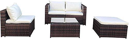 Muebles de patio al aire libre, jardín de ratán sofá mesa,Brown