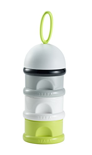 BÉABA - Formula Dispenser - Storage for Baby Milk Powder - Stackable - 3 Compartments - 100% airtight - Long-term use as a snack Box - Yellow