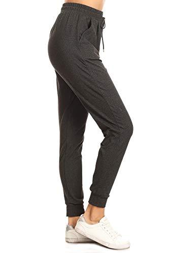 Leggings Depot JGA2-HDARKCHARCOAL-L Heather Dark Charcoal Solid Jogger Track Pants w/Pockets, Large