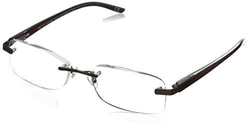 Foster Grant Men's Rick Reading Glasses Square, Brown/Transparent, 59 mm + 1.25