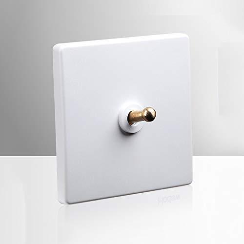 Ploutne El panel de pared interruptor eléctrico interruptor oculto retro latón palanca del interruptor nórdica Simple White Switch 86 Tipo 2 vías de doble control for Hotel Inicio de la lámpara Fixtur