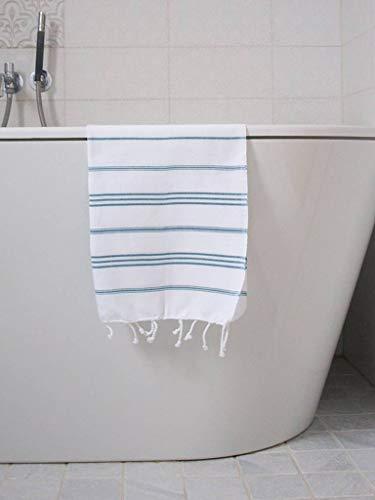 Hamam Handdoek Wit Met Petrol Strepen 100x50cm - sneldrogende handdoeken - saunadoek - kleine hamamdoek - reishanddoek - zwem handdoek