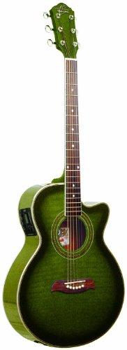 Oscar Schmidt 6 String OG10CE Cutaway Acoustic-Electric Guitar Trans, Right, Flame...