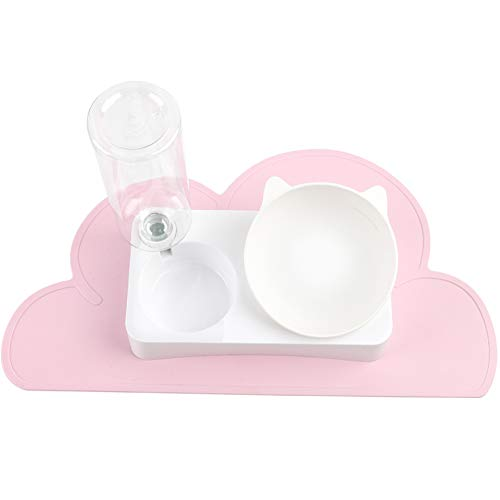 JUNIQUTE Cat Dog Automatic Water Bowl, Pet Water Food Bowl & Pink Cloud Shape Food Mat Set, 0-15° Adjustable Tilted, Self Feeder, Automatic Water Dispenser(Pink)