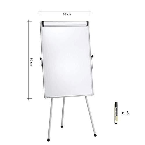 PUCHIKA Flipchart mit Papierhalter Inkl. 4 Marker, Magnettafel mit dreibein Ständer Höhen verstellbar und Aluminium Rahmen, Magnetwand 60x90cm 150cm