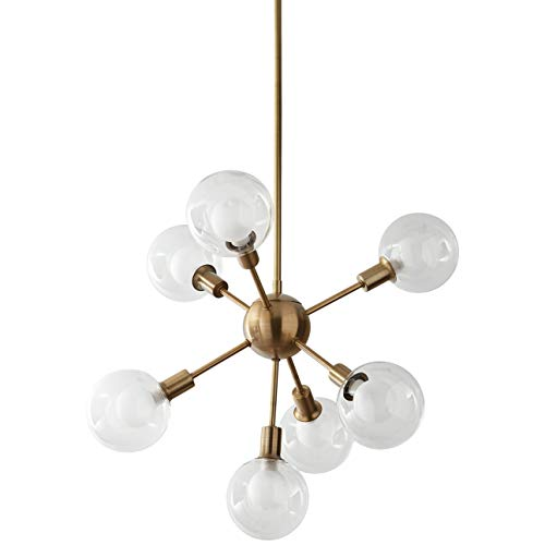 Amazon Brand – Rivet Mid-Century Modern Sputnik Glass Globe Ceiling Pendant Chandelier Fixture With 7 Light Bulbs - 22.5 x 22.5 x 24 Inches, Gold