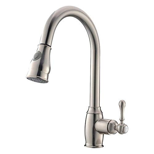 Haushaltsküchenhahn,Kitchen Sink Wasserhahn, Einzel-Griff Küchenarmatur Mit Pull-Down-Sprayer, Einzel-Loch Drehbare 2-Funktion Hot and Cold Pull-out-Hahn