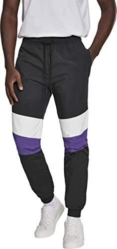 Urban Classics Herren Hose 3-Tone Crinkle Track Pants Blk/Wht/Ultraviolet Größe: L