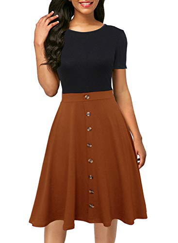 Berydress Women's O-Neck Short Sleeve A-Line Slim Fit and Flare Knee-Length Patchworh Button Down Swing Casual Dress (L, 6091-2BK+BN) Brown