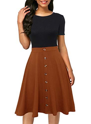 Berydress Short Sleeve Colorblock Button Down Sundress