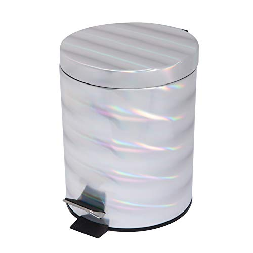 Bath Bliss Holographic Round Step Pedal Trash Can, Small Space Living, Good for Dorms, Office, Bedrooms, Irredescent