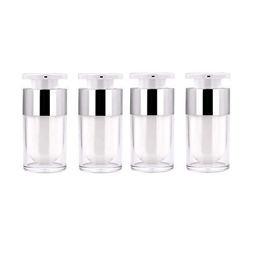 Beeria 4 Pcs Travel Bottles Portable Empty Pressing Bottle 15ML Plastic Push-Type Bottle for Cosmetic Lotion