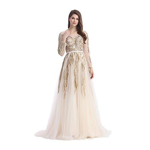 JUMILA Women's A-line Wicker Dress See-Through Long Sleeves Gowns Graduation Evening Dresses (10, Navy) (Apparel)