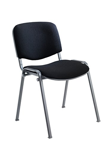 Office Hippo Heavy Duty Stackable Reception Chair, Black Frame, Fabric, Black