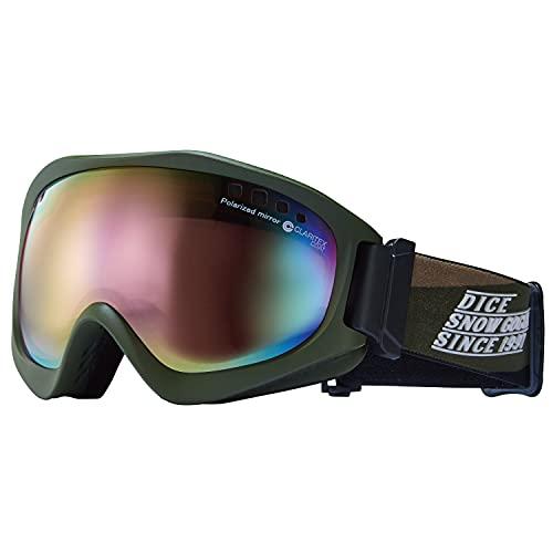 DICE (ダイス) スノーゴーグル JACKPOT ジャックポット JP11361 OLV パステルピンクミラー×偏光ピンク 日本製 スキー スノーボード