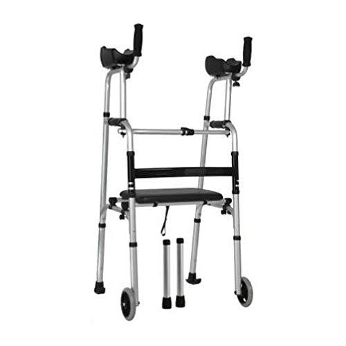 M-YN Andador para Ancianos Andador Walker, Plegable Ligero del antebrazo Soporte Caminar Arrastre Ayuda con El Brazo con Asiento Blando Impermeable