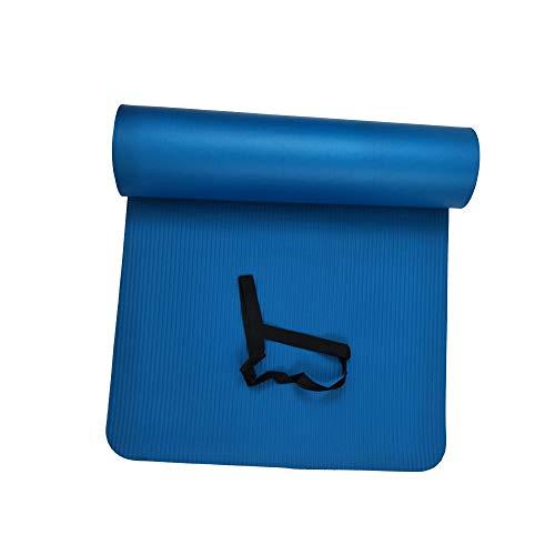 Esterilla de yoga gruesa, ecológica, ligera, no tóxica, de TPE, antideslizante, duradera, para yoga, fitness, pilates, 72 x 24 pulgadas, 10 mm (azul)