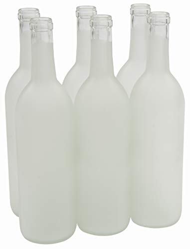North Mountain Supply 750ml Glass Bordeaux Wine Bottle Flat-Bottomed Cork Finish - Case of 6 - Frosted