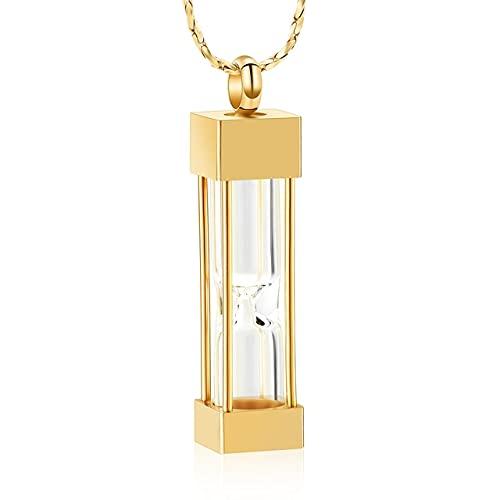 QFV Reloj de Arena de Cristal Joyas de cremación para Cenizas Contenedor Vial Urna Collar Colgante Acero Inoxidable Regalos conmemorativosOro