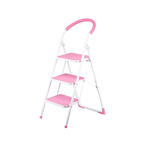 Leiter Startseite Innenklappleiter mit Fischgrätmuster Leiter Zwei DREI Vier Stufenleiter rutschfeste Eisenleiter Rolltreppe Treppe Stabilität und Sicherheit (Color : Wine red)