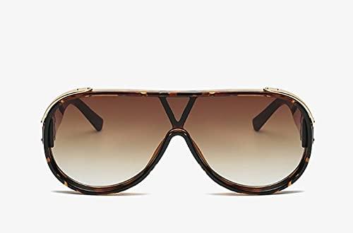 U/N Gafas de Sol de piloto de Color para Hombres y Mujeres a la Moda Espejo de Gran tamaño Lente degradada Gafas de Sol para Mujer señoras Shades-6