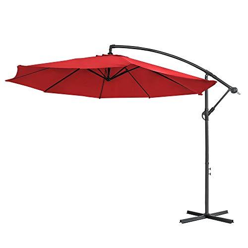 LARS360 Rot Ø350cm Aluminium Sonnenschirm Marktschirm Balkonschirm Gartenschirm Ampelschirm Kurbelschirm Gartenschirm UV40+ Schutz (Rot ohne Solar LED)