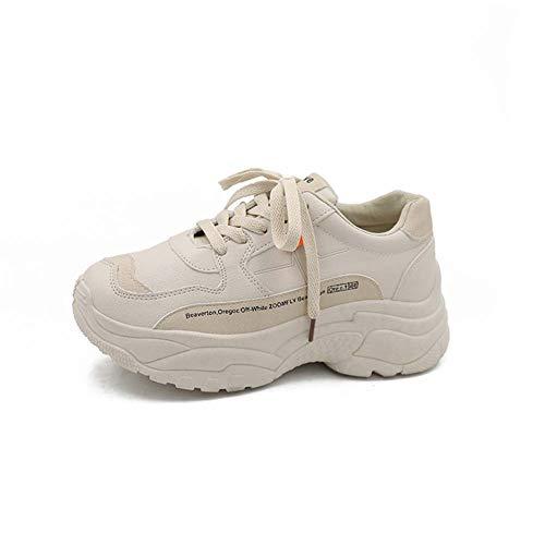 Vrouwen Schoenen 2019 Nieuwe Chunky Sneakers voor Dames Vulcanize Schoenen Casual Mode Schoenen Platform Sneakers 37 Beige