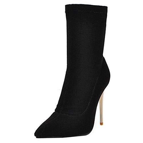 LUXMAX Donna Stivali Elasticizzati Tacco Alto Spillo Sexy 10 CM a Punta Stivaletti Tacchi Alti Slip-on Boots (Nero) - 46 EU