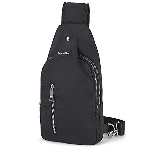 LEGENDGLOO SL Bolso hombre pecho mochila negra cruzada bolsa bandolera pequeña espaciosa senderismo ciclismo impermeable resistente 100% Nylon