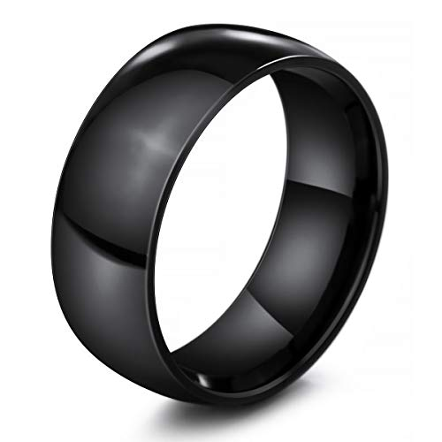 MunkiMix Ancho 8mm Acero Inoxidable Banda Venda Anillo Ring Negro Alianzas Boda Talla Tamaño 35 Hombre,Mujer