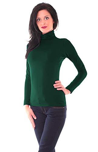 Easy Young Fashion Damen Thermo Microfaser Rollkragen Langarm Shirt Uni Dunkelgrün M 38 (L)