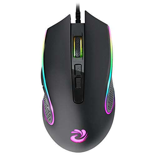 Wired Mouse, RGB Optical Computer Mouse, USB Computer Mouse Wired with 7 Buttons, 7200 DPI Adjustable Office and Home Wired Mouse for Laptop Windows PC Desktop Notebook-Black