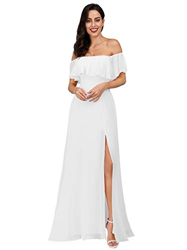 Ever-Pretty Womens Off Shoulder Ruffle Top Maxi Party Dresses White US6