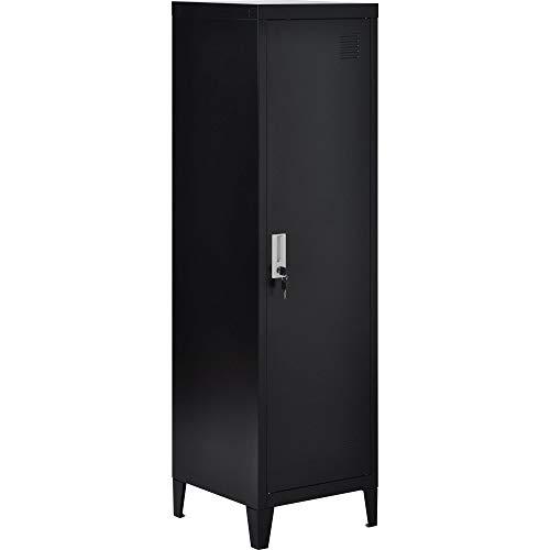 DDU - Armario de oficina con 3 compartimentos (acero, 137 x 38 cm), color negro