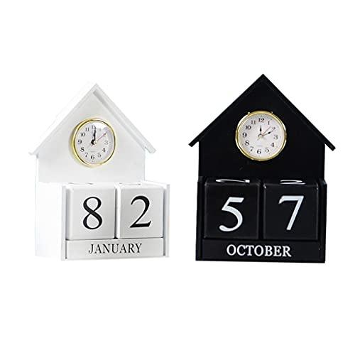 LZL Reloj Mini Escritorio de Pared Calendario Bloque Blanco/Negro Calendario de Escritorio con Calendario de Madera perpetuo para Oficina o hogar 7.4x3.3x9in (Color : White and Black)