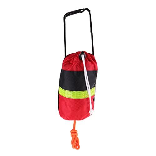 SM SunniMix Kajak Wurfsack Rettungswurfleine/Schwimmseil mit Tasche - 21 Meter Nicht reflektierendes Seil Rot Schwarz Tasche