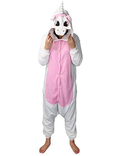 Pijama de unicornio Kigurumi con diseño de animales, unisex, para adultos, cosplay, Halloween, carnaval, disfraz, disfraz para mujer y hombre Rosa. M