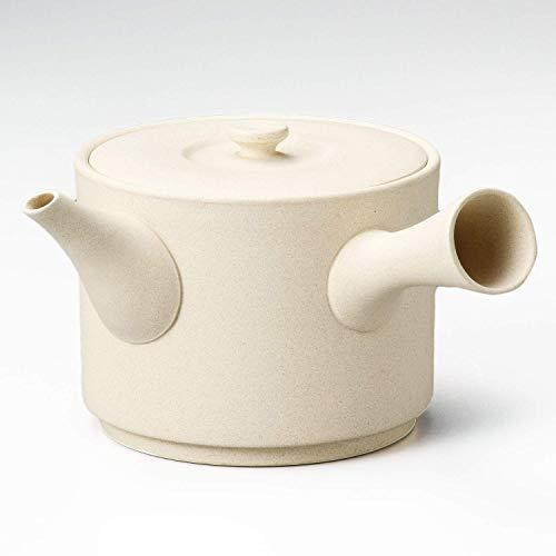 Japanische Kyusu Tokoname traditionelle Teekanne aus Keramik, 580 cc, mikrowellengeeignet, cremeweiß, Yamakiikai