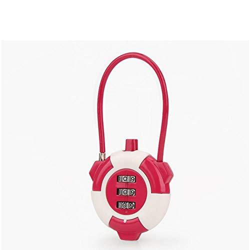 Zaino da viaggio, portabagagli, porta del dormitorio, palestra, armadio, antifurto, lucchetto, metallo, mini, piccola serratura-rosso