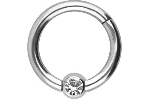 PIERCINGLINE Titan Clicker Ring | Kugel mit KRISTALL | Piercing Nase Septum Ohr Helix Tragus | Farb & Größenauswahl
