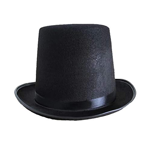 YiGo Sombrero de Fieltro 1pc Mago Magos del azulejo del Sombrero de Copa Sombrero de Raso Negro Sombrero de Disfraces de Halloween de Accesorios Redondos Gran Sombrero