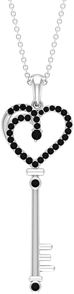 1/4 CT Created Black Diamond Key To My Heart Pendant (AAAA Quality)