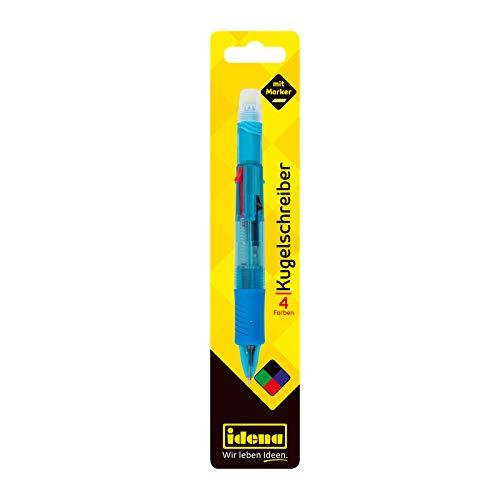 Idena 512473 - Farbkugelschreiber 5 in 1, 4 farbig,  mit Kugelschreibermine blau, grün, rot, schwarz und 1 Textmarker gelb, farbig sortiert