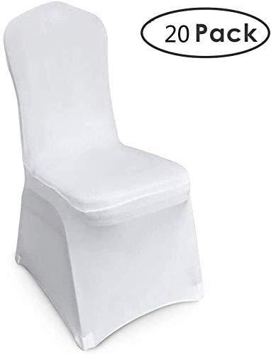 Femor 20 piezas Funda Elástica para Sillas Funda de Asiento Fundas para Silla Funda Protectora Cubierta de Sillas para Bodas Banquetes Fiestas Decoración Color Blanco